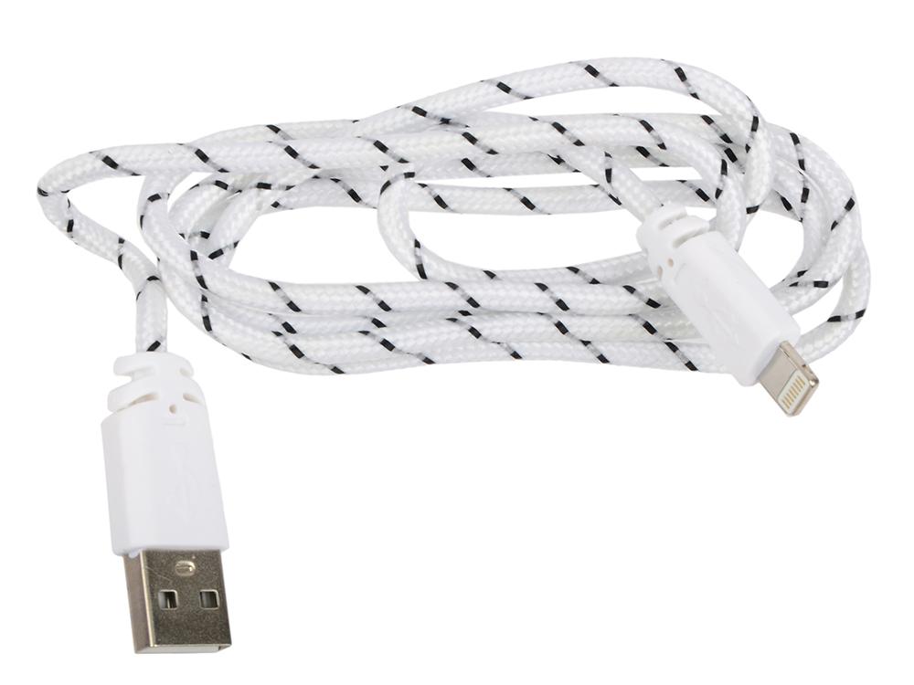 USB кабель LP для Apple iPhone/iPad 8 pin в оплетке (серый/черный/коробка) R0003822 usb кабель lp micro usb плоский узкий черный коробка r0003928