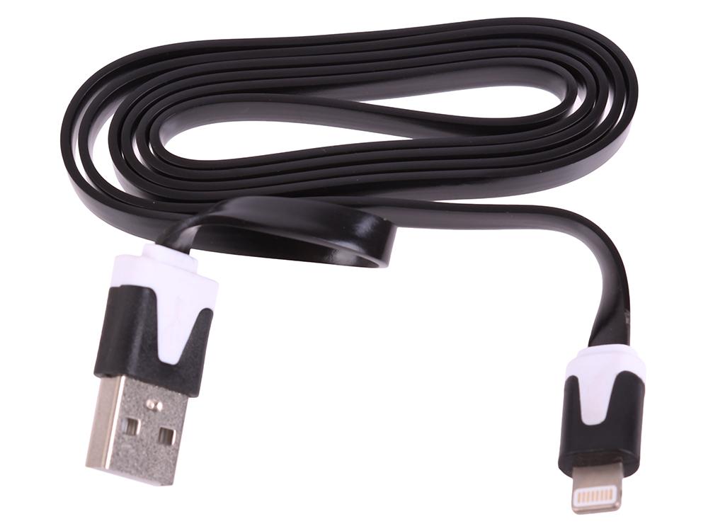 USB кабель LP для Apple iPhone/iPad 8 pin плоский узкий (черный/коробка) R0003826 usb кабель lp для apple 8 pin круглый soft touch металлические разъемы зеленый европакет 0l 00030354