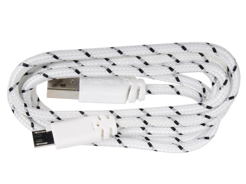 USB кабель LP Micro USB в оплетке (белый с черным/европакет) 0L-00000954 usb кабель lp micro usb плоский узкий зеленый европакет sm000118
