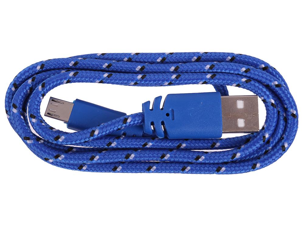 USB кабель LP Micro USB в оплетке (синий с желтым/европакет) 0L-00000947 usb кабель lp micro usb плоский узкий зеленый европакет sm000118