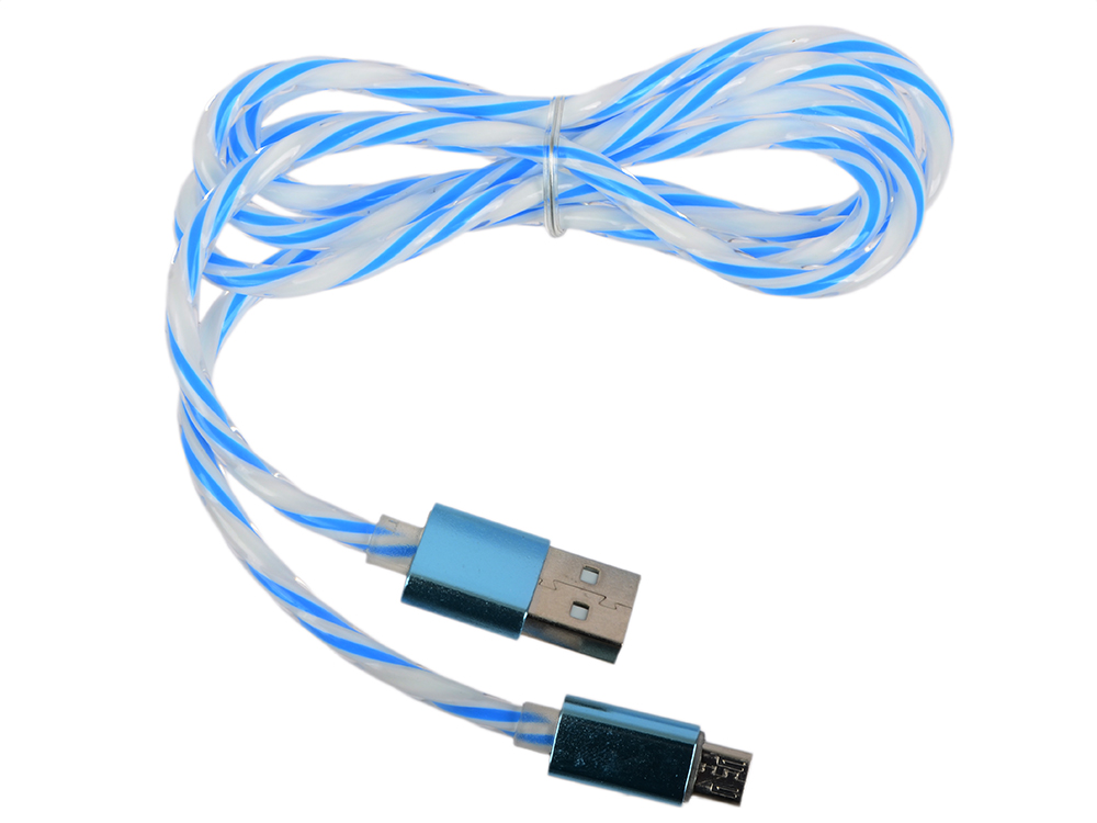 USB кабель LP Micro USB витая пара с металлическими разъемами 1 м. (белый с голубым/европакет) 0L-00030553 usb кабель lp для apple 8 pin плоская оплетка темно розовый европакет 0l 00030340