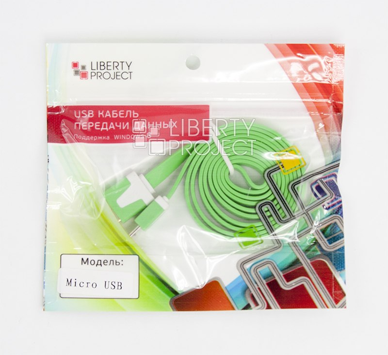 USB кабель LP Micro USB плоский узкий (зеленый/европакет) SM000118 usb кабель lp micro usb плоский узкий черный коробка r0003928