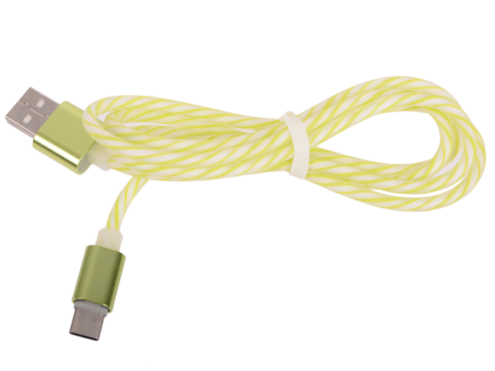 USB кабель LP USB Type-C витая пара с металлическими разъемами 1 м. (белый с зеленым/европакет) 0L-00030556