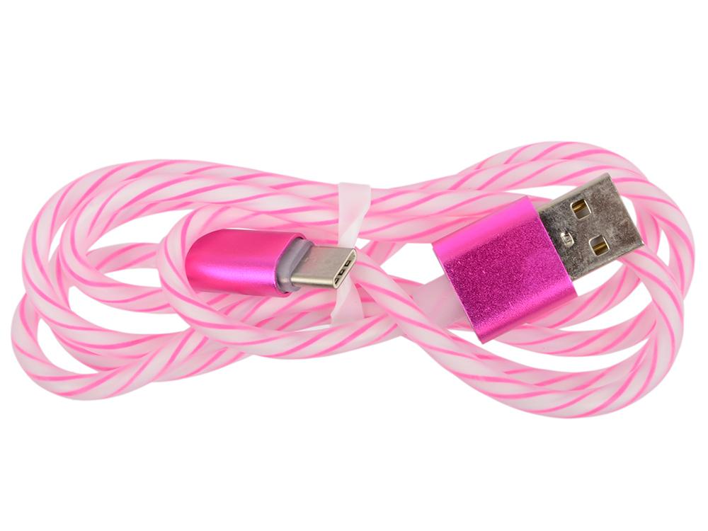 USB кабель LP USB Type-C витая пара с металлическими разъемами 1 м. (белый с розовым/европакет) 0L-00030558