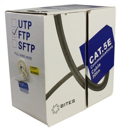 Кабель FTP indoor 4 пары категория 5e 5bites FS5505-305A FTP одножильный 24AWG CCA PVC 305m сетевой кабель 5bites ftp solid 5e 24awg copper pe outdoor messenger drum 305m black fs5505 305ce m