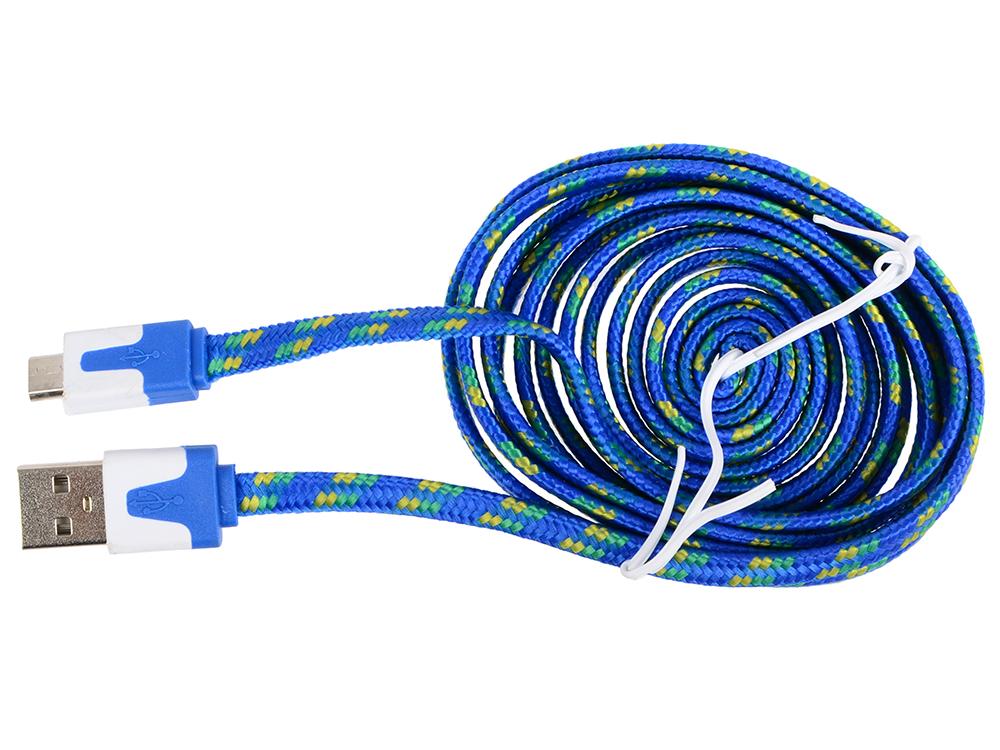 Кабель MicroUSB-USB Ritmix RCC-212 blue для синхронизации/зарядки, 2м, ткан. опл. кабель partner usb 2 0 microusb 2 1а 0 2м
