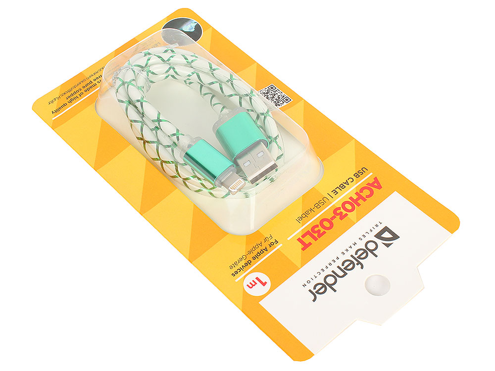 USB кабель ACH03-03LT зеленый, LED, USB-Lightning 1м кабель lightning 1м defender ach03 03lt круглый 87551
