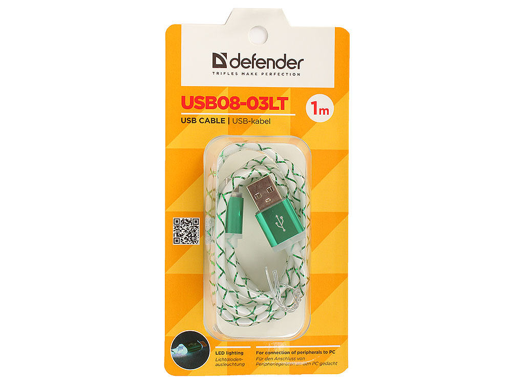 USB кабель USB08-03LT USB2.0 зеленый, LED, AM-MicroBM, 1м кабель usb defender usb08 03lt 87557