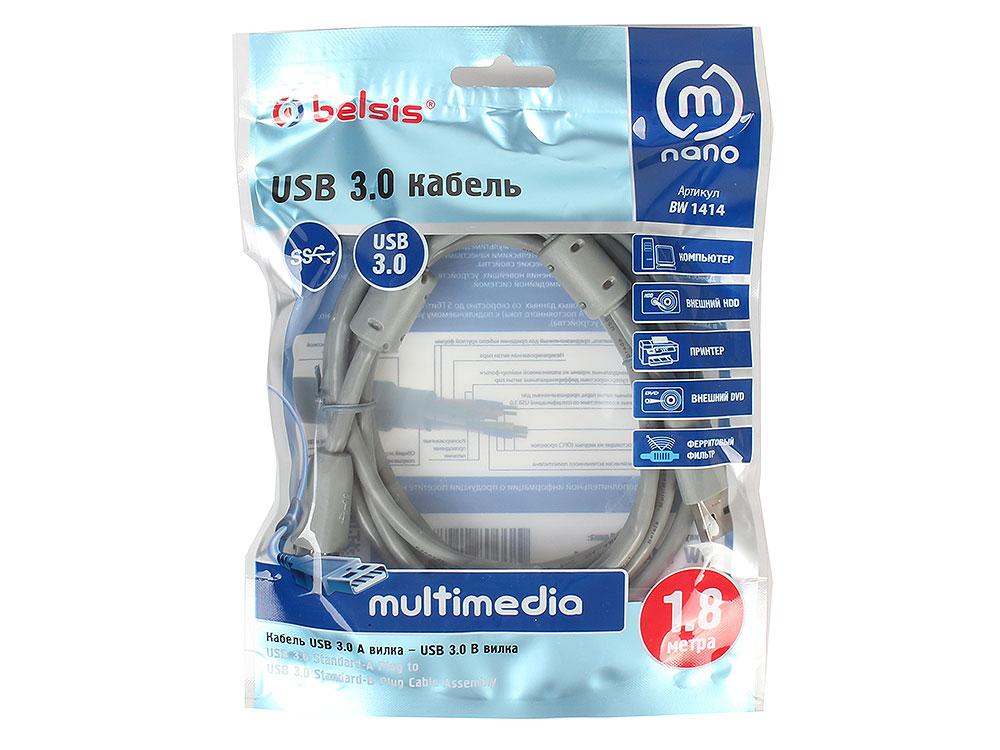 Кабель Belsis BW1414 USB3.0 A вилка-USB B вилка ф/фильтр, длина 1.8 м сетевые фильтры belsis сетевой удлинитель 4 розетки 4 usb порта длина 1 500