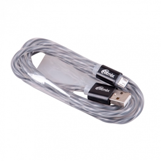 Кабель USB-microUSB Ritmix RCC-312 Black, силиконовая оплетка, металлические коннекторы, 1м, 2А, зарядка и синхронизация ritmix ritmix rom 111 черный usb