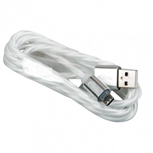 Кабель USB-microUSB Ritmix RCC-312 White, силиконовая оплетка, металлические коннекторы, 1м, 2А, зарядка и синхронизация ritmix ritmix rom 111 черный usb