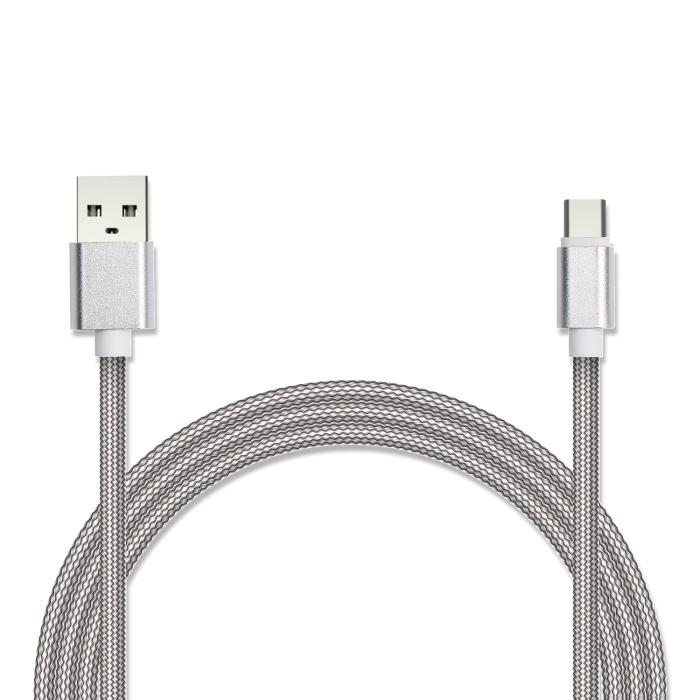 Кабель USB/USB Type C Jet.A JA-DC32 2м белый (в оплётке, поддержка QC 3.0, пропускная способность 2A) кабель red line classic micro usb 2м белый