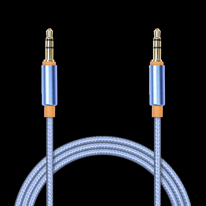 Аудиокабель соединительный Jet.A mini Jack-mini Jack в оплётке JA-AC02 2 м синий (3 pin/3.5 мм, металлический разъём, коннекторы с покрытием золотом)