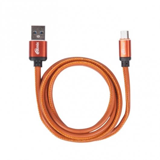 Кабель MicroUSB-USB, 1 метр, 2,5 A, мет. коннекторы, зарядка и синхронизация, оплетка из экокожи RITMIX RCC-415 Leather ritmix rcc 312 white кабель usb microusb 1 м