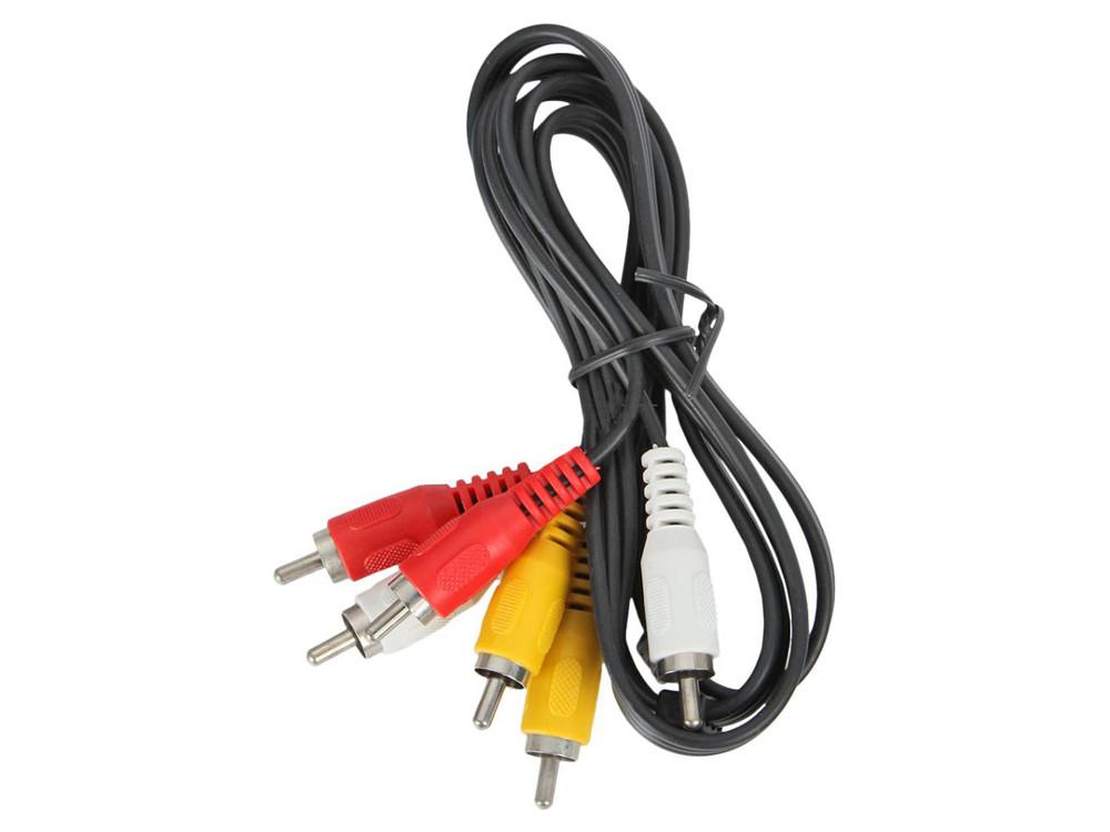 Кабель аудио-видео Ningbo 3хRCA (m)/3хRCA (m) 1м. черный (JAAC027-1)