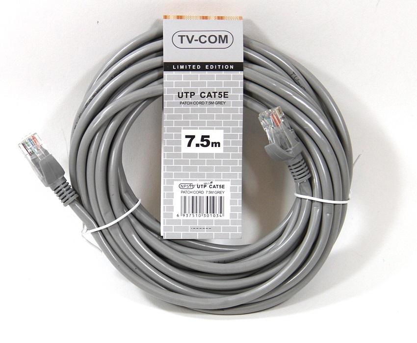 Патч-корд литой TV-COM NP511-7.5M многожильный UTP кат.5е 7.5м серый патчкорд литой tv com np511 3m многожильный utp кат 5е 3м серый