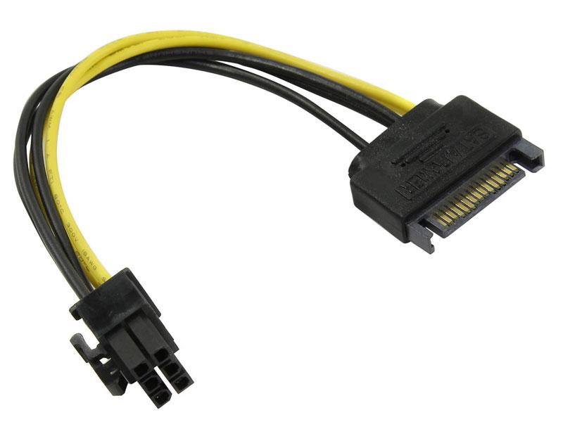 Переходник питания для PCI-Ex видеокарт SATA 15pin (M) -> 6pin ORIENT C512