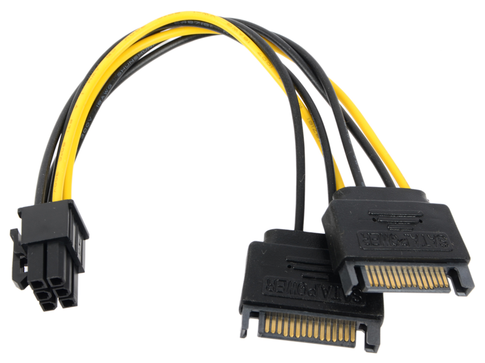 Переходник питания для PCI-Ex видеокарт 2 x SATA 15pin (M) -) 6pin ORIENT C513 pci e 1x to 16x 008c extender riser board card adapter 60cm usb 3 0 wire square sata 15pin to 6pin power cable for mining