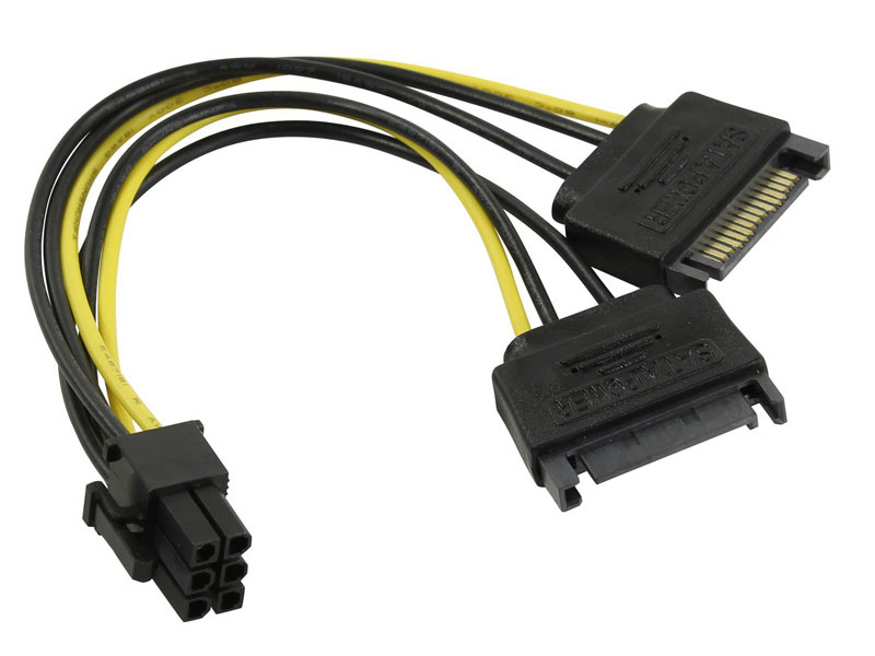 Переходник питания для PCI-Ex видеокарт 2 x SATA 15pin (M) -) 6pin ORIENT C513 переходник для питания 2molex 6pin