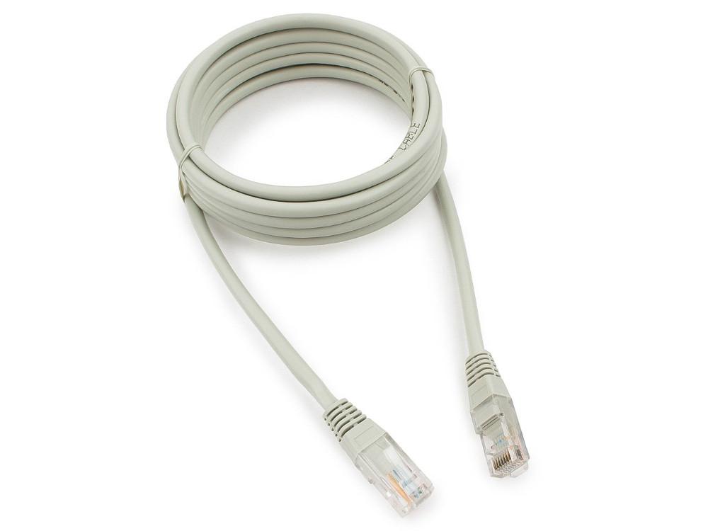 цена Патч-корд медный UTP Cablexpert PP10-3M кат.5, 3м, литой, многожильный (серый)