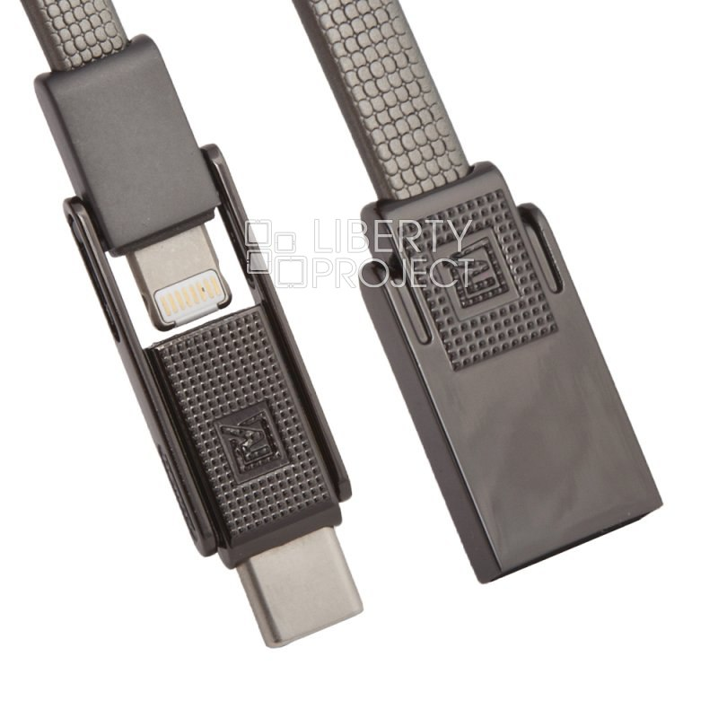 USB кабель 3 в 1 REMAX Gplex 3 in 1 Cable RC-070th Apple 8 pin/Micro USB/USB Type-C (черный) usb кабель elektron usb 1 cable page 1