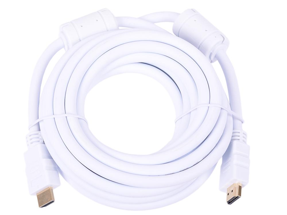 Кабель HDMI 19M/M ver 2.0, 5М, Aopen (ACG711DW-5M) 2 фильтра, белый аксессуар aopen hdmi 19m ver 2 0 5m white acg711dw 5m