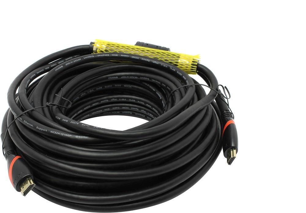 Кабель HDMI 19M/M ver. 2.0, 2 фильтра, с усилителем , 20m VCOM CG525D-R-20.0 кабель hdmi 19m m ver 2 0 2 фильтра 10m vcom cg525d 10m