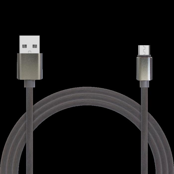 Кабель для зарядки и передачи данных Jet.A JA-DC24 1м серый (TPE, USB2.0/micro USB, QC 3.0, 2A) кабель lightning 1м wiiix круглый cb120 u8 10b
