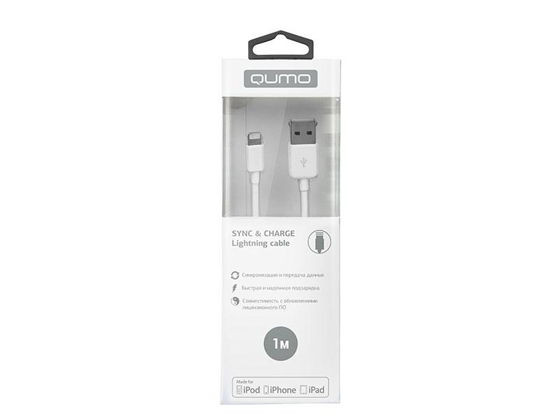 Кабель Qumo, MFI С48, USB-Apple 8 pin, 1м, 5В, 2,4A, 12Вт, опл. PVC, кон. PVC, белый кабель qumo usb 8pin 1м белый