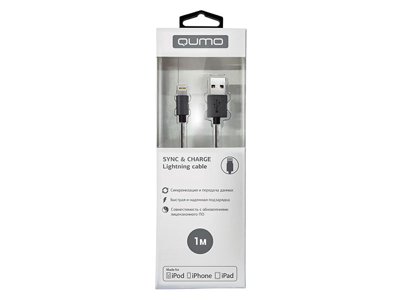 Кабель Qumo, MFI С48, USB-Apple 8 pin, 1м, 5В, 2,4A, 12Вт, опл. PVC/пружинка у коннектора, кон. PVC, черный кабель qumo usb 8pin mfi 1м черный
