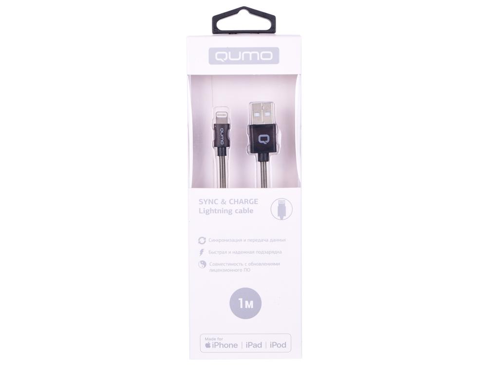 Кабель Qumo, MFI С48, USB-Apple 8 pin, 1м, 5В, 2,4A, 12Вт, опл. PVC/пружинка у коннектора, кон. металл, темно-серый кабель qumo usb 8pin mfi 1м черный