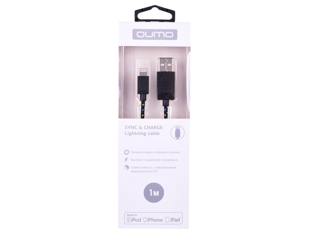 Кабель Qumo, MFI С48, USB-Apple 8 pin, 1м, 5В, 2,4A, 12Вт, опл. нейлон, кон ABS, черный кабель qumo usb 8pin mfi 1м черный