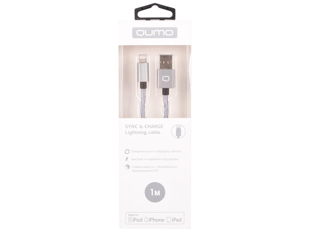 Кабель Qumo, MFI С48, USB-Apple 8 pin, 1м, 5В, 2,4A, 12Вт, опл. нейлон, кон металл, темно-серый кабель qumo usb 8pin mfi 1м черный