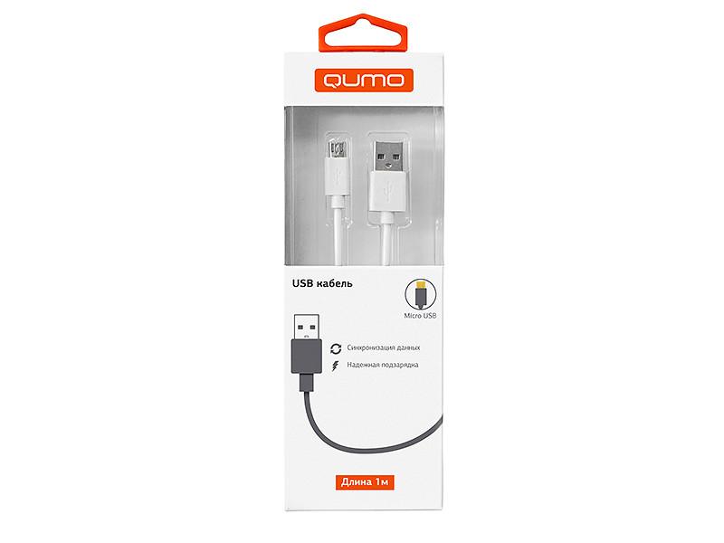 Кабель Qumo, USB-Micro USB, 1м, 5В, 2А, 10Вт, опл. PVC, кон. PVC, круглый, белый кабель qumo usb 8pin 1м белый