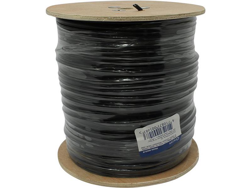 Кабель 5bites FS5505-305CPE, FTP, 4 пары, одножильный (solid), кат. 5e, (0,50 mm), CU, PVC+PE, 305m, для внешней прокладки, на деревянной катушке сетевой кабель 5bites ftp solid 5e 24awg copper pe outdoor messenger drum 305m black fs5505 305ce m