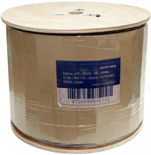 Кабель 5bites LIGHT US5500-305APE, UTP, 4 пары, одножильный (solid), кат. 5e, (0,50 mm), CCAG, 305m, для внешней прокладки, на деревянной катушке цена