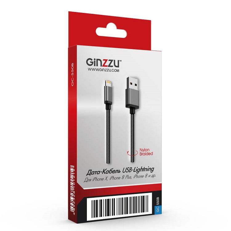 Кабель Ginzzu GC-550B, Дата-кабель Lightning/USB, нейлон, 1,2 м, черный кабель удлинительный ginzzu видео питание 30 м