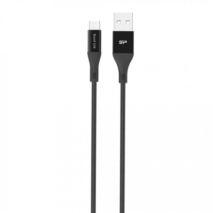 Кабель Silicon Power microUSB-USB для зарядки и синхронизации 1м, нейлон, Black кабель microusb usb ritmix rcc 411 black для синхронизации зарядки 1м нейлон опл мет коннекторы