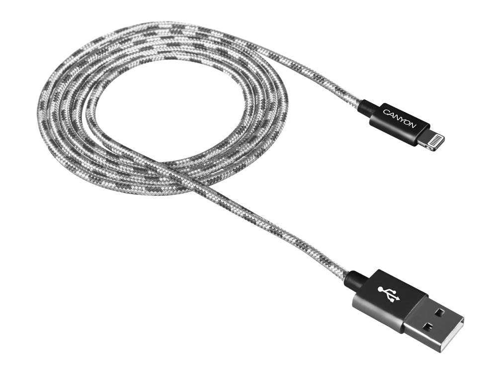 Кабель Lightning/USB, braided, metallic shell, cable length 1m, Dark gray CANYON CNE-CFI3DG portable 5 section telescopic fishing rod pole 2 1m length