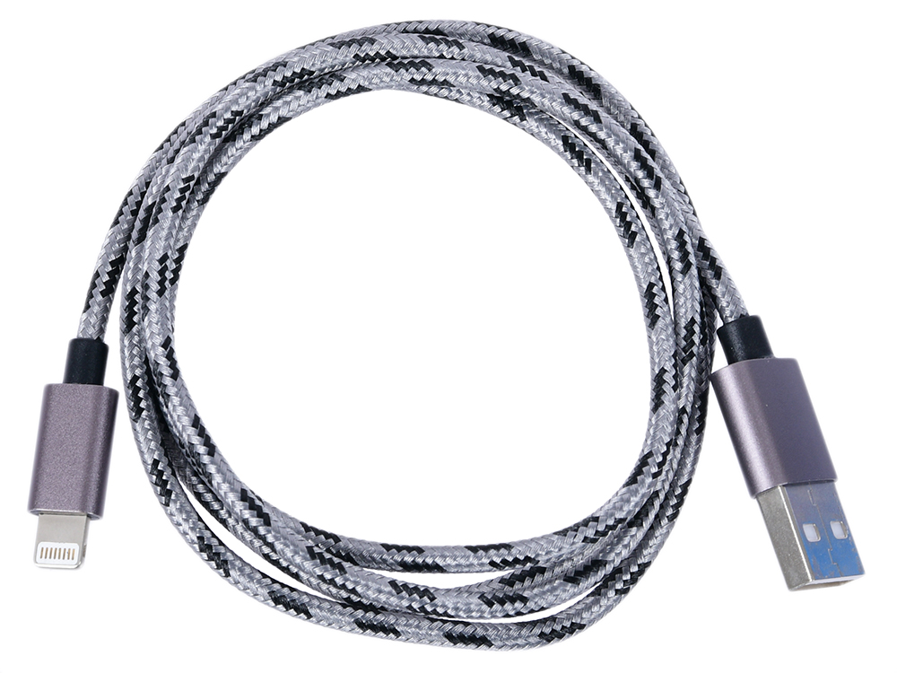 где купить Кабель Lightning/USB, braided, metallic shell, cable length 1m, Dark gray CANYON CNE-CFI3DG дешево