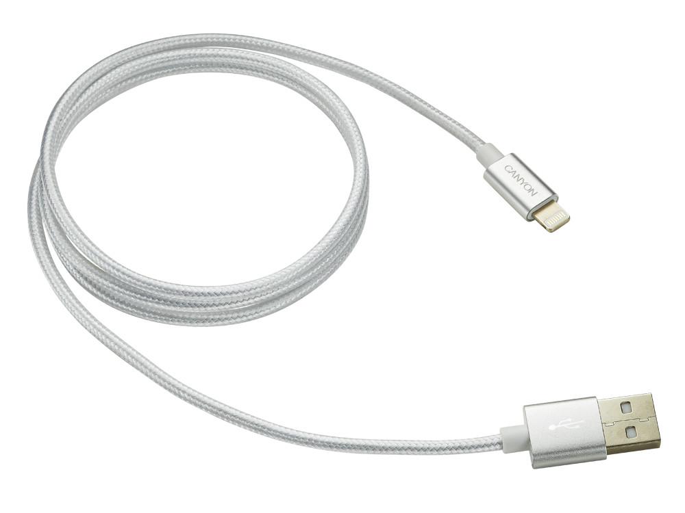 Кабель Lightning/USB Canyon CNE-CFI3PW, 1м, Pearl White кабель canyon usb lightning не mfi 1м жемчуг