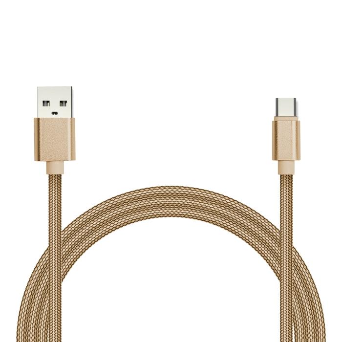 Фото - Кабель для зарядки и передачи данных Jet.A JA-DC32 2м золотой (в оплётке,USB2.0/USB TypeC,QC3.0, 2A) золотой цзиньдин jd p012 iphone6s 5s apple кабель для зарядки линии передачи данных 6 плюс usb ipad4 быстрого заряда линии передачи 2 метра зе