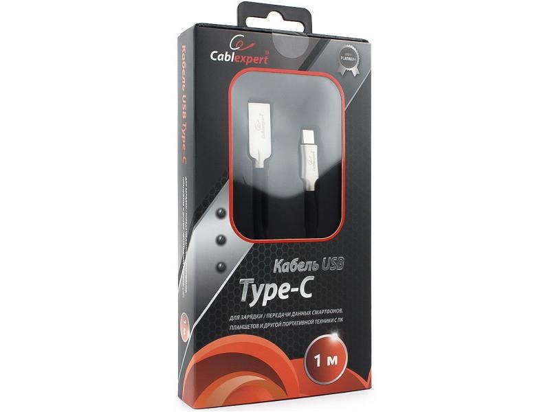 Кабель USB 2.0 Cablexpert, AM/Type-C, серия Platinum, длина 1м, черный, блистер кабель usb 3 0 type c am