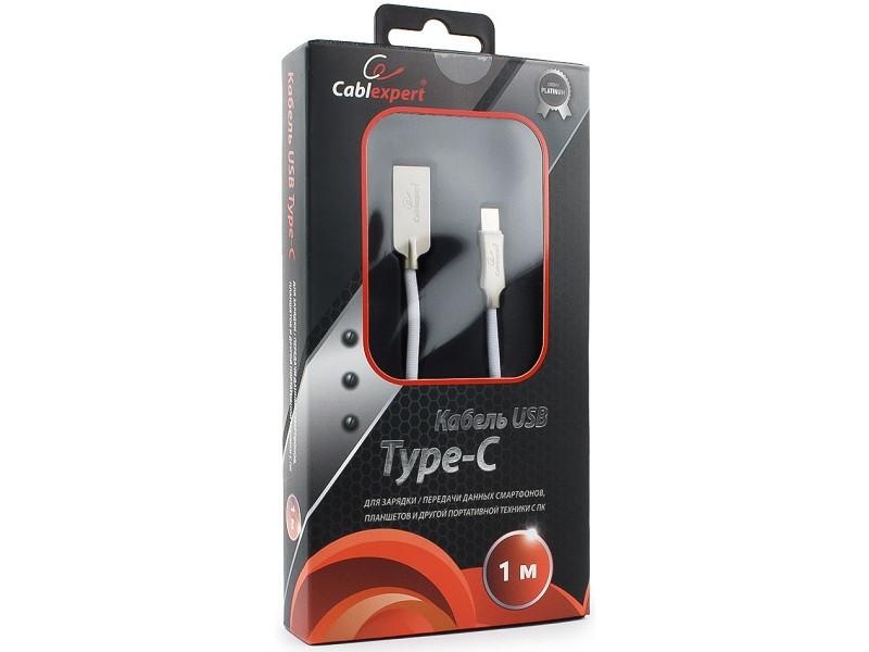 Кабель USB 2.0 Cablexpert, AM/Type-C, серия Platinum, длина 1м, белый, блистер кабель usb 3 0 type c am