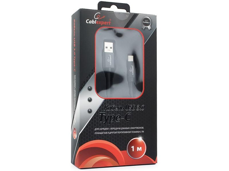 Кабель USB 3.0 Cablexpert, AM/Type-C, серия Platinum, длина 1м, черный, блистер кабель usb 3 0 type c am