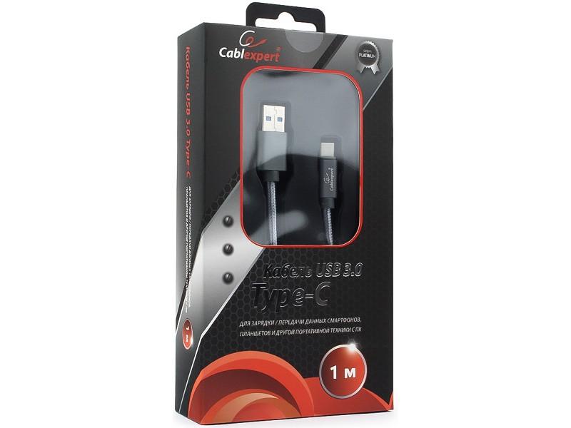 Кабель USB 3.0 Cablexpert, AM/Type-C, серия Platinum, длина 1м, титан, блистер кабель usb 3 0 type c am