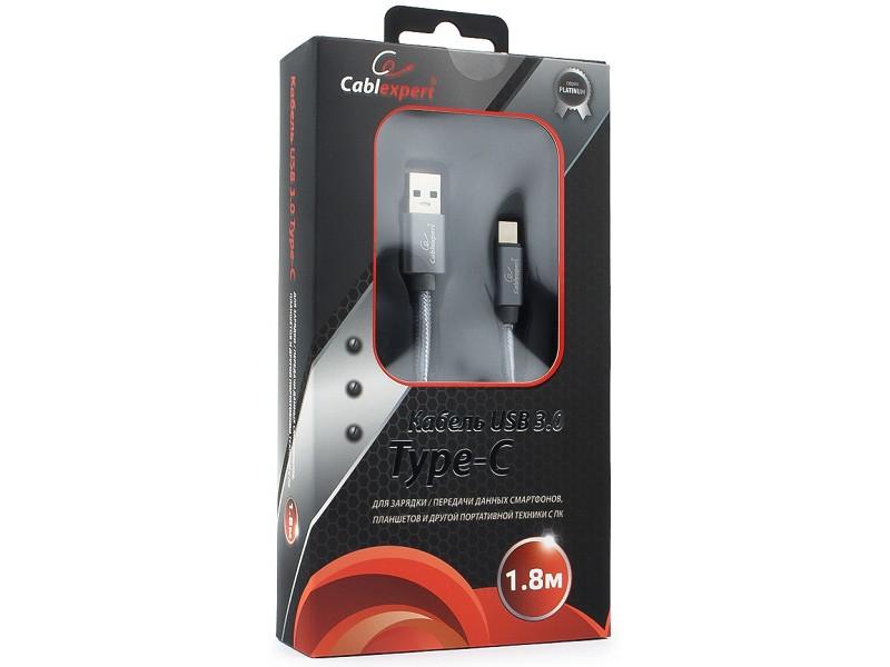 Кабель USB 3.0 Cablexpert, AM/Type-C, серия Platinum, длина 1.8м, титан, блистер кабель usb 3 0 type c am