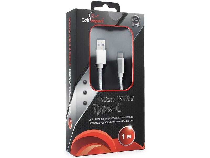 Кабель USB 3.0 Cablexpert, AM/Type-C, серия Platinum, длина 1м, серебро, блистер кабель usb 3 0 type c am