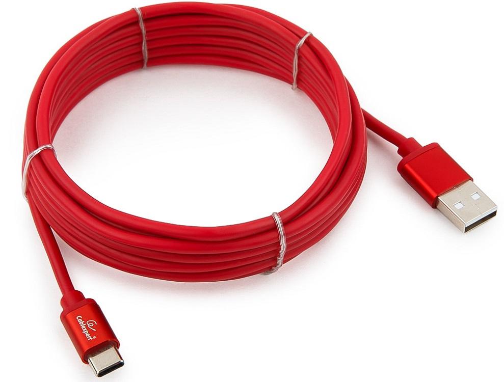 Кабель USB 2.0 Cablexpert, AM/Type-C, серия Silver, длина 3м, красный, блистер кабель usb 2 0 cablexpert am microb серия silver длина 3м черный блистер