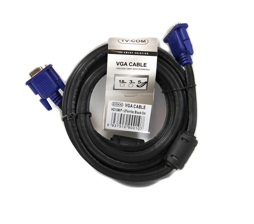 Кабель удлинительный SVGA (15m/15f) 5m 2 фильтра TV-COM QCG342AD-5M opel tech 2 com obd2 eobd auto diagnostic tool